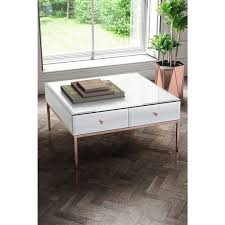 sti white glass and rose gold coffee table