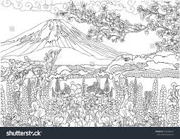 Small Picture Mountain Japan Fujiyama Landscape Coloring Pages Stock Vector