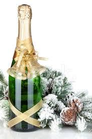 Flasche Champagner Dekor Und Tanne Weihnachtsbaum