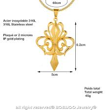 large pendant necklace with fleur de lis gold plated steel string