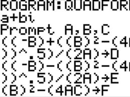 quadratic formula program that does imaginaries on a ti 84