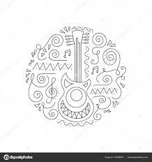 Doodle Gitaar Kleurplaat Pagina Stockvector Yorri 153368094