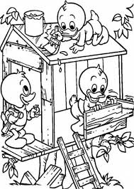 Small Picture Louie and Huey and Dewey Build a Treehouse Coloring Page Louie