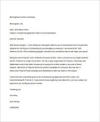 letter for recommendation sample letter of recommendation for a student 8 examples in word pdf