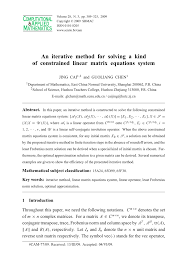 pdf an iterative method for solving a kind of constrained linear matrix equations system