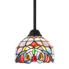 6 Inch Mini Pendant Lights Bonlicht Mini Pendant Lights 1 Light Tiffany Light Fixtures Ceiling Hanging With 7 5 Inches Stained Glass Shade
