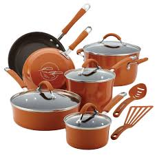 rachael ray hard anodized 12 piece. Unique Anodized Rachael Ray Cucina 12Piece Pumpkin Orange Cookware Set With Lids Intended Hard Anodized 12 Piece