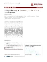 Biological Theory Pdf Biological Theory Of Depression In The Light Of New
