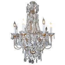 eight light italian crystal and gilt metal chandelier