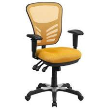 triple seated home office area. Mid-Back Yellow-Orange Mesh Swivel Task Chair With Triple Paddle Control Seated Home Office Area R