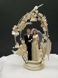 Vintage Wedding Cake Topper Post World War Ll Era Groom Bride