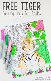 Tiger Coloring Page For Grown Ups Easy Peasy And Fun