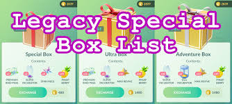 Legacy Special Box List Pokemon Go Wiki Gamepress