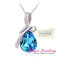 details about teardrop pendant swarovski elements blue crystal sterling silver pl necklace