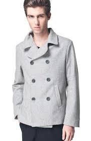 stylish designed grey casual pea coat