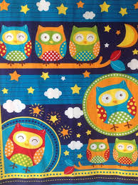 22 best Fabric panels at Quilting By Fiona images on Pinterest ... & Blue Owl Fabric Cot Quilt Panel 36 x 44 bright by QuiltingByFiona Adamdwight.com