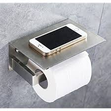 commercial bathroom products. Toilet Paper Holder, APL SUS304 Stainless Steel Bathroom Tissue Holder With Mobile Phone Storage Shelf Rack Brushed Nickel Commercial Products