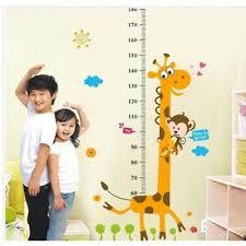 Child Height Chart For Wall Cute Giraffe Child Kid Height Growth Chart Wall Sticker Room