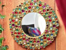 Diy mirror frame decoration Hand Decorated Decor Round Mirror With Frame Of Pipes Freesilverguide 20 Diy Mirrors Ideas