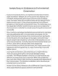 sample essay on hindrances to environmental conservation