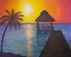 easy sunset ocean seascape acrylic painting tutorial summer