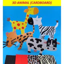 3d animals cardboard giraffe zebra leopard cow birthday goo bag party pack diy art and craft activity for kids babies kids on