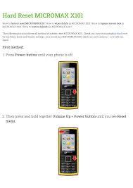 Micromax X101 User manual