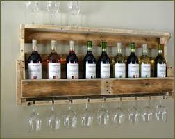 Wall Mounted Homemade Wine Rack With Glass Shelf And Holder Made From  Pallet Ideas