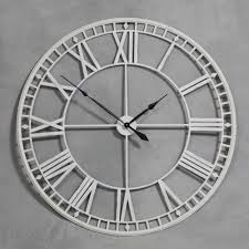 back huge 120cm antique cream skeleton wall clock roman numeral