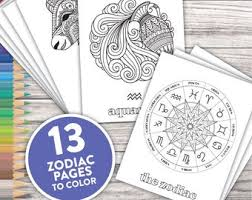 Click on the coloring page to open in a new window and print. Zodiac Coloring Page Etsy