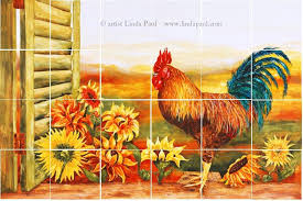 Mural Tiles For Kitchen Decor Rooster Kitchen Decor Backsplash with Sunflowers Tile Murals of 77