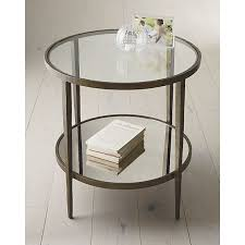 glass side table. Clairemont Round Side Table Tables Crate And Barrel Metal Glass End
