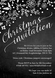 Christmas Inviations Chalkboard Style Personalised Christmas Party Invitation