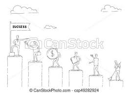 Walking Chart Group Of Business People Walking Chart Bars Up To Financial Success Concept