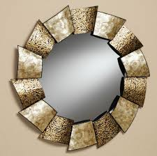 Fabulous Round Mirror Wall Decor Featuring Unique Hammered Metal Mirror  Frame