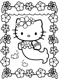 coloring templates for kids. Contemporary Templates Hello Kitty Mermaid Kawaii Coloring Page With Templates For Kids K
