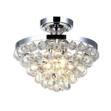 4 light chrome semi flushmount with clear crystal