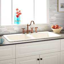 incredible drop in kitchen sinks throughout 43 selkirk bisque double bowl cast iron sink