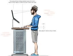 desk top standing desk ergonomics diagram within ergonomic standing desk prepare ideal standing desk height