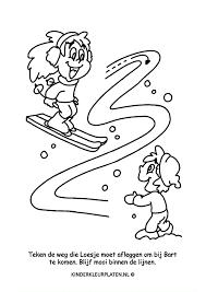 Kleurplaat Skiën Loesje Spelletjes