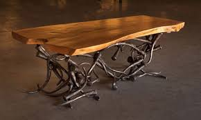 wrought iron and wood furniture. Hand Carved Table With Wrought Iron And Wood Furniture S