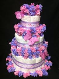 Purple Butterfly Baby Shower Theme Diaper Cake Baby Shower Ideas