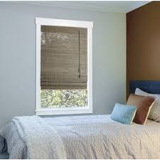 Home Decorators Collection Driftwood Flat Weave Bamboo Roman Shade In W X In L The Home Depot