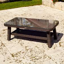 round outdoor coffee table. Attractive Dark Brown Rectangle Farmhouse Rattan Outdoor Coffee Tables With Glass Top And Storage Designs Round Table