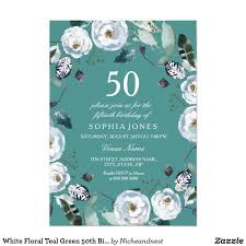 white fl white text elegant flowers 50th birthday party invite can change