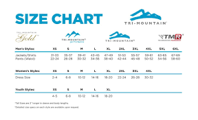 Size Chart Tri Mountain