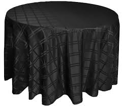 132 plaid round jacquard polyester tablecloths black 87739 1pc pk