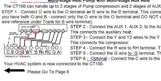 ct 100 thermostat installation a heat pump do not connect w2 to w2 secondary aux connect to w primary aux