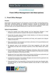 Personal Manager Job Description Hotel Front Office Manager Job Description By Daniel Diosi Issuu