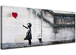 wallfillers large canvas prints of banksy s girl with the red balloon for your dining room  on red canvas wall art uk with wallfillers large canvas prints of banksy s girl with the red